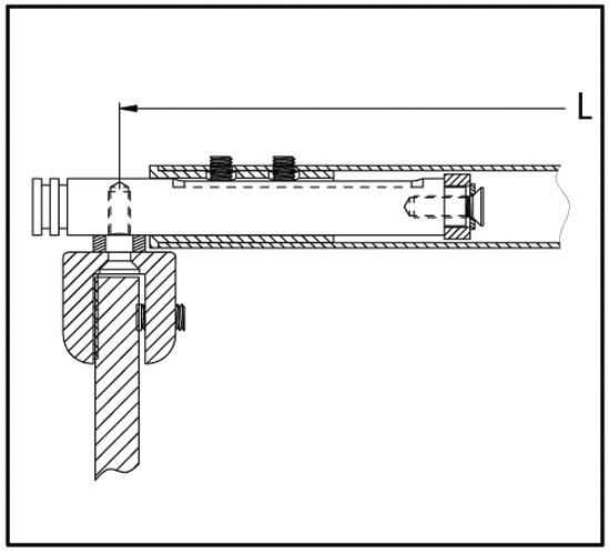 Teleskop-Stabilisierungsstange Set Bohle round ø19 Glas-Glas