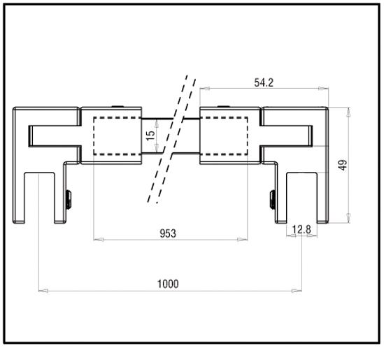 Stabilisierungsstange Set Bohle square 15x15 Glas-Glas
