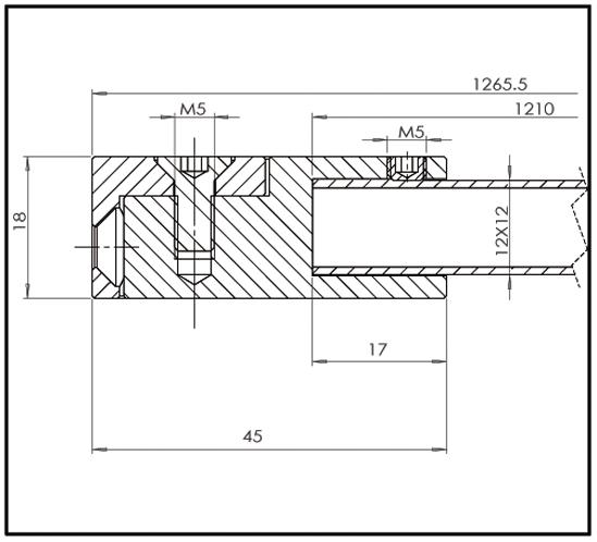 Stabilisierungsstange Set Bohle square 12x12 Glas-Wand 90°