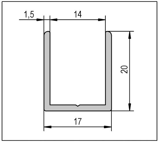U-Channels 13/16 x 11/16 (20 x 17)
