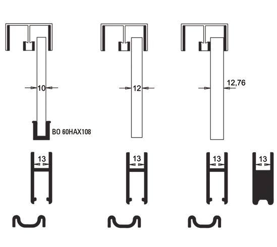 Slide rail profile for 10 - 12,76 mm Glass