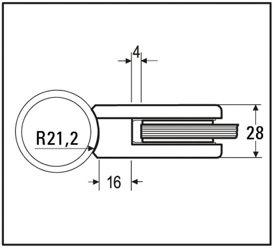 Klemmbefestigung eckig 45 x 45 mm für Rundrohr ø 42,4 mm für ESG 8 mm