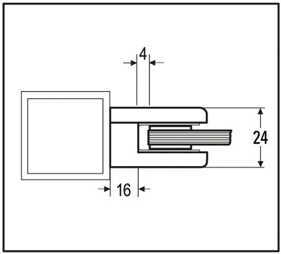 Klemmbefestigung halbrund 50 x 40 mm für Vierkantrohr für ESG 8 mm