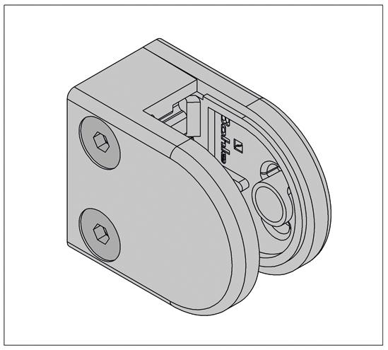 Klämfäste halvrund 50 x 40 mm för 6 - 10,76 mm