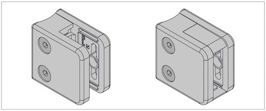 Klemmbefestigung eckig 45 x 45 mm für Rundrohr ø 48,3 mm für 6 - 10,76 mm