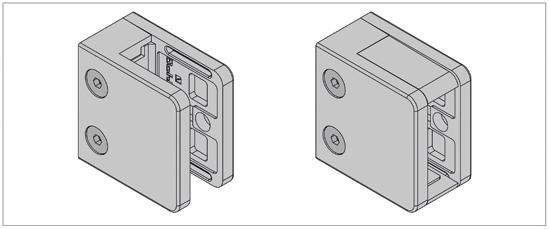 Klemmbefestigung eckig 55 x 55 mm für Vierkantrohr für 8 - 13,52 mm