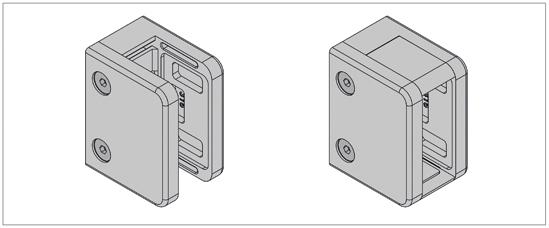 Klemmbefestigung HD eckig 70 x 55 mm für Vierkantrohr für 16,76 - 21,52 mm