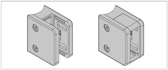 Klemmbefestigung HD eckig 70 x 55 mm für Rundrohr ø 48,3 mm für 16,76 - 21,52 mm