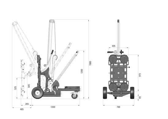 Hebegerät Liftmaster B1 mit manueller 2-Kreis-Hebeanlage