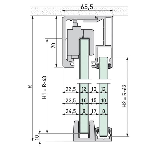 Portavant 120 Set Deckenmontage mit Festverglasung 1-flügelig