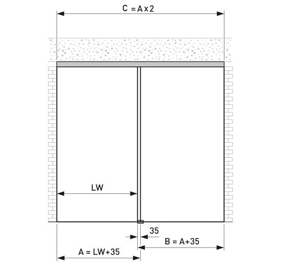 Portavant 60 Set Deckenmontage mit Festverglasung 1-flügelig