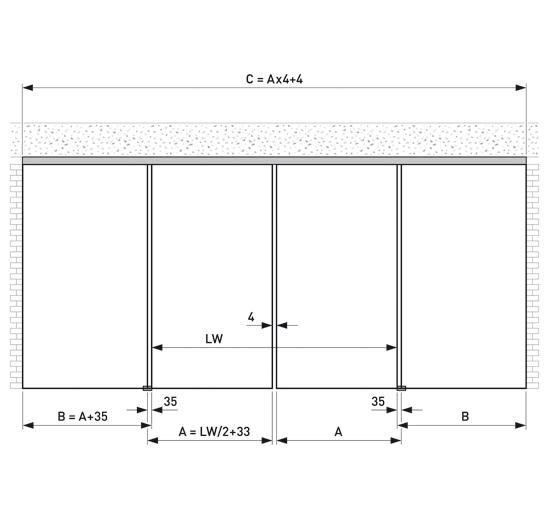 Portavant 120 Set Deckenmontage mit Festverglasung 2-flügelig