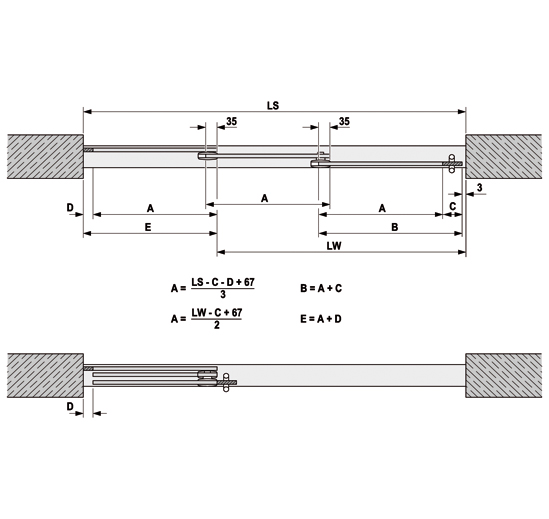 Portavant 60 twinline Perfil de acristalamiento fijo Montaje a techo
