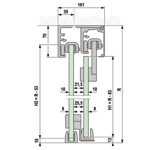 Portavant 60 twinline Set Deckenmontage zweiseitige Systeme