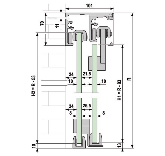 Portavant 60 twinline Set Wandmontage einseitige Systeme rechts schließend