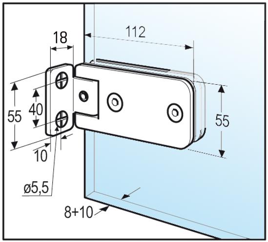 Duschtürband Granada Glas-Wand 90° einseitige Wandmontage
